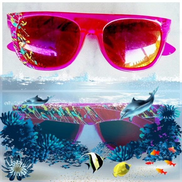c0fca6283d5 Paint Splash Hot Pink Sunglasses Wayfarers
